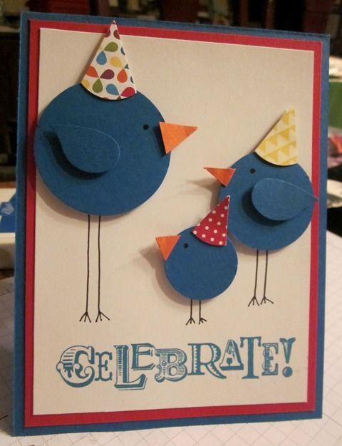 I like the simple way to make the birds... Maybe place them on a tree branch instead the party hats.