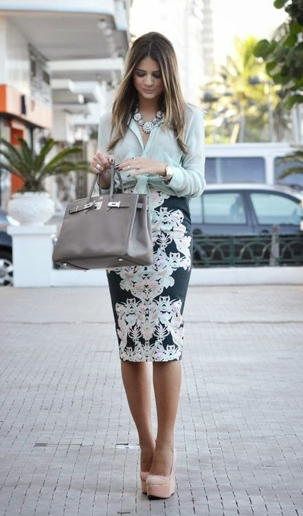 Love the printed skirt