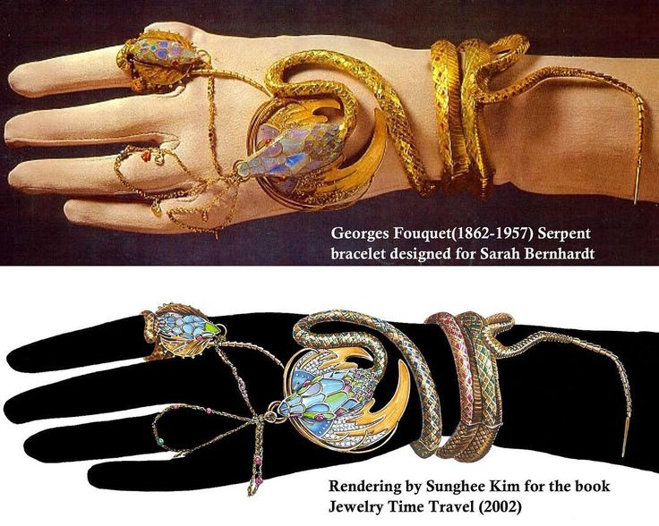 """Sunghee Kim on Instagram: """"Georges Fouquet snake bracelet. Rendering by Sunghee Kim for the book """" Jewelry Time Travel"""" 2002. #rendering #jewelry #jewelrydesigner…"""""""