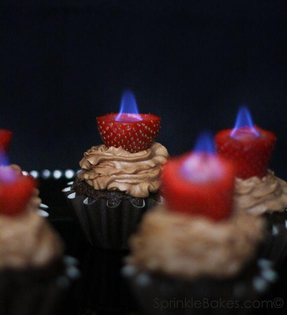 flaming cupcakes.. so cool!