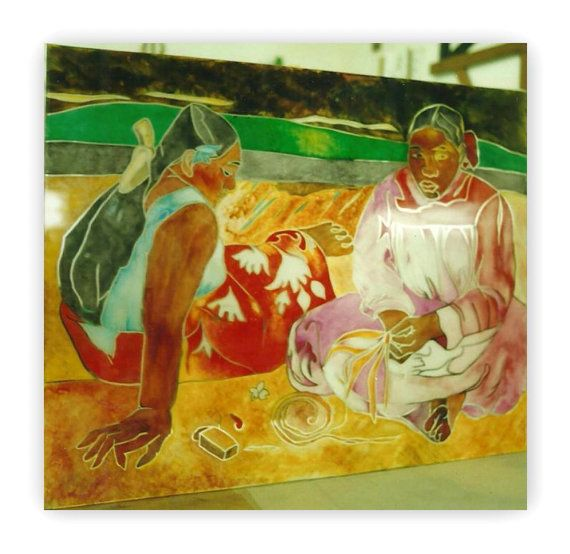 Gauguin Due tahitiane. Quadro dipinto su di Lartistadelvetro