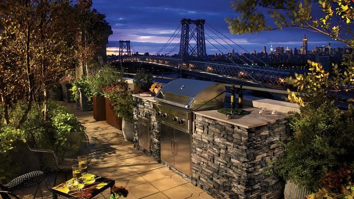 New York stone outdoor kitchen on patio