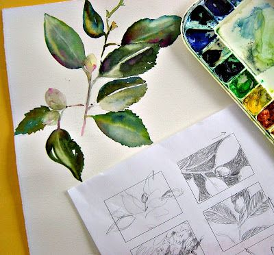 Catherine Carey - In and Out of The Studio: Art Watercolor, Watercolor Paintings, Watercolor Ideas, Beautiful Watercolor, Watercolor Leaves, Art Tutorials, Water Colors, Colors Ideas, Thumbnail Sketch