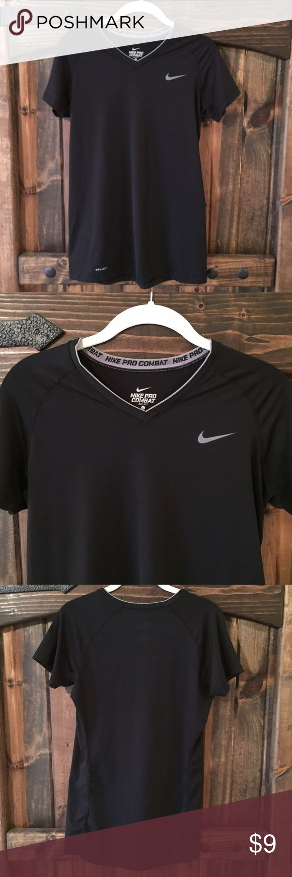 Nike pro combat fitted workout tee size L Nike pro dri-fit workout tee, black, size L. Great condition. 84% polyester, 16% spandex Nike Tops Tees - Short Sleeve
