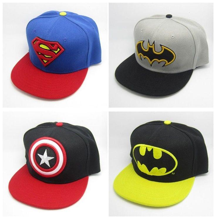 New Superman Batman Captain Snapback Baseball Cap Hat Adjustable For Child Kid #BaseballCap