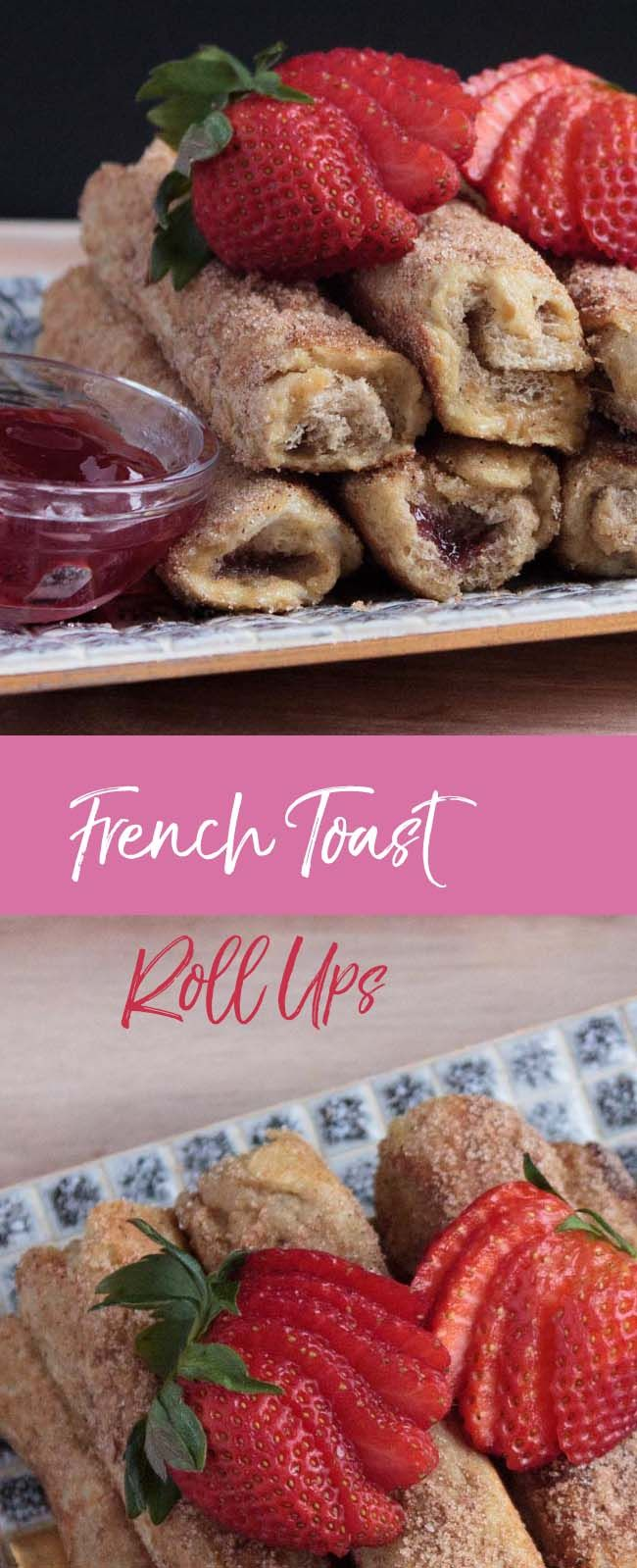 FRENCH TOAST ROLL UPS: These are quite straight forward and a great Sunday brunch dish to whip up at home. By the time they're rolled in sugar and cinnamon, it's like eating a doughnut.
