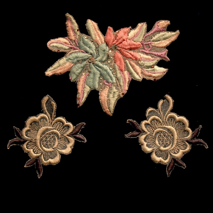 "Vintage Lace Machine Embroidery Multicolored Flowers (Only One Set Available) Largest Piece is 6 1/2"" W x 4 1/4"" H sku# L5000  $5.00"