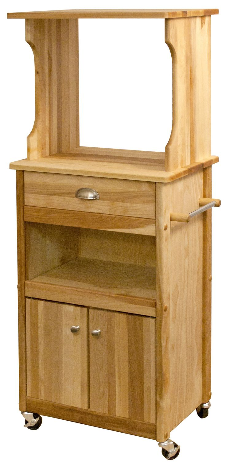 Features: -Oiled finish. -Hutch top for microwaves. -Drawer, cabinet and open…