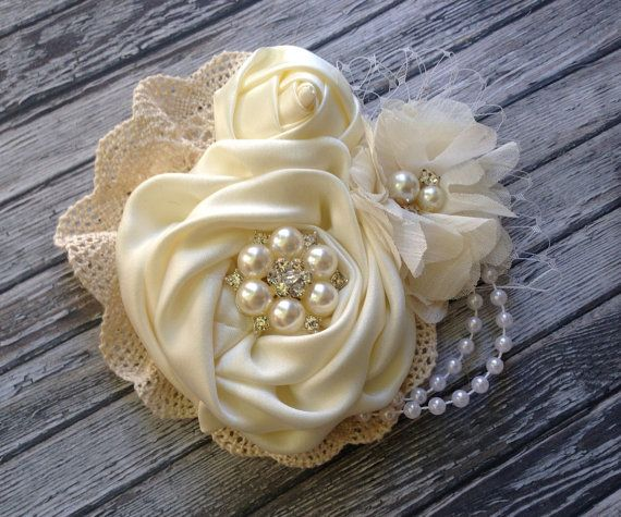 Vintage inspired ivory satin and lace clip,birdcage netting,bridal clip, flower girl clip, vintage clip, ivory flower clip