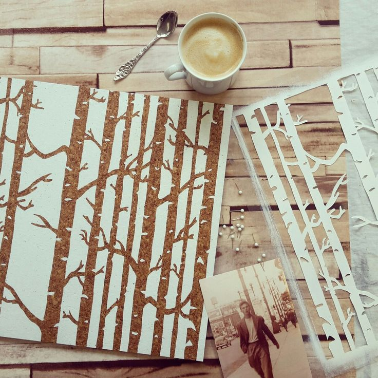 Birch design pinboard in white