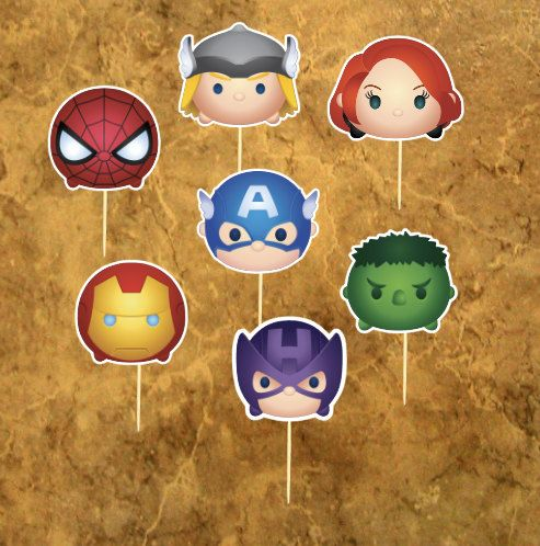 14 Tsum Tsum Avengers Cupcake Toppers - Super Hero Cupcake Toppers - Avengers Birthday -  Party - Wedding - Baby Sower,