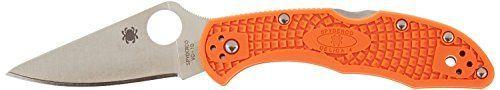 Camping Folding Knives - Spyderco Delica4 Lightweight FRN Flat Ground Plain Edge Knife Orange *** For more information, visit image link.