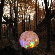 DIY Lighted gazing ball TUTORIAL Gazing Ball, COlored LED Lights, Entension Cord if necessary, Old log