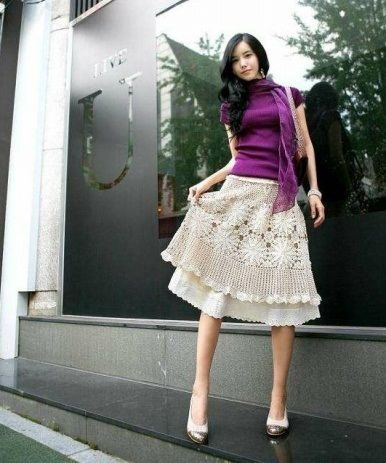 Кружевная юбка крючком из круглых мотивов. Вязание юбки из круглых мотивов | Я Хозяйка