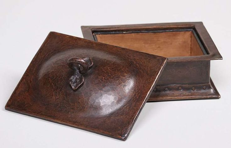 4524. Gustav Stickley hammered copper cigar box.  Signed.  Excellent new patina.  7.5″w x 5.75″ x 4 3/8″h $5500