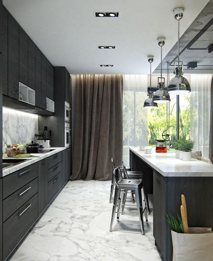 brown-curtain-in-black-kitchen.jpg (1000×1222)