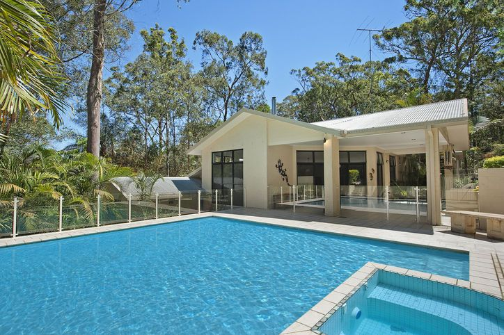 entertaining in tropical and pool surrounding
