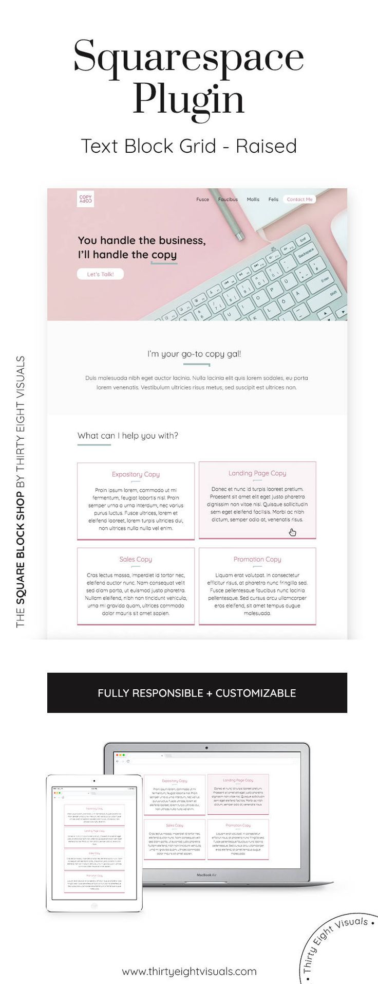 Squarespace plugin - Get this 4-block responsive text grid to display your services on your Squarespace website and stand out! Take a look