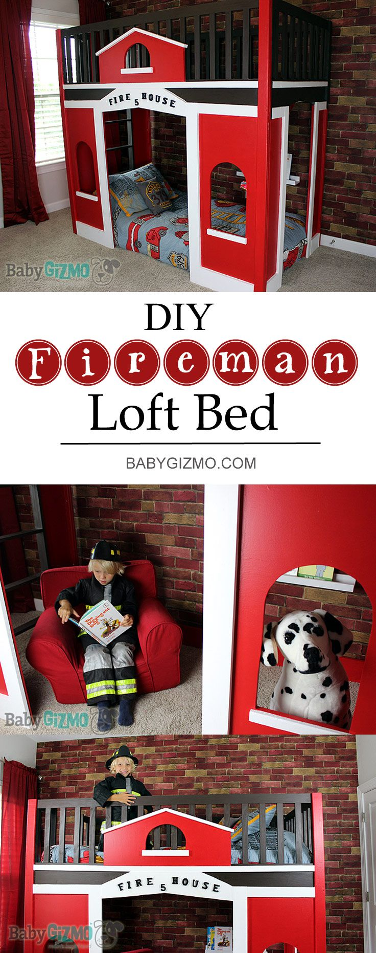 Want to make your child's bedroom amazing?! You can make a Pottery Barn Kids quality bed for a fraction of the cost! Find out how to make this Firehouse Bed!