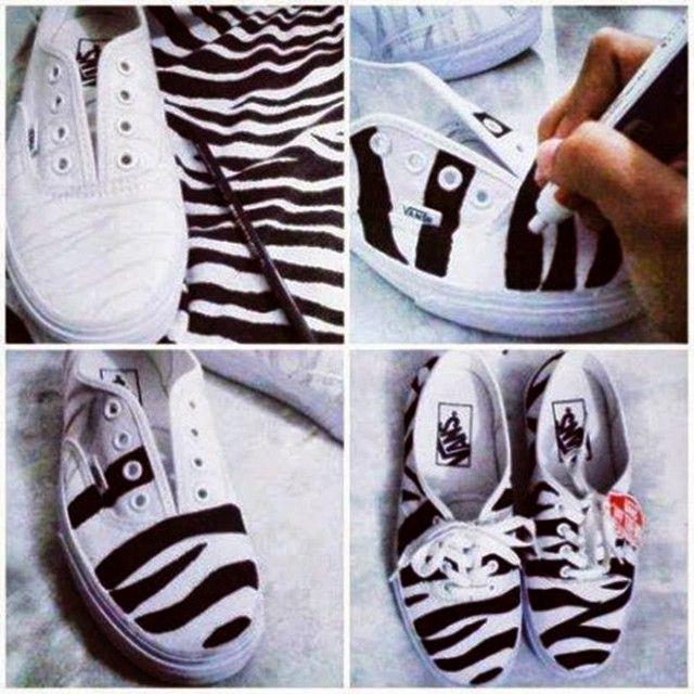14 DIY Sneakers Ideas-DIY Zebra Sneakers