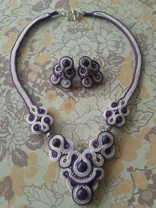 Soutache purple set