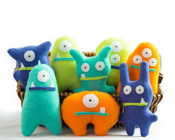 Set of 8 + Adopt a Monster Plush | Little Monster Party Favor in Orange Lime Blue Mint | Felt Monster | Monster Theme Party Favors for Kids