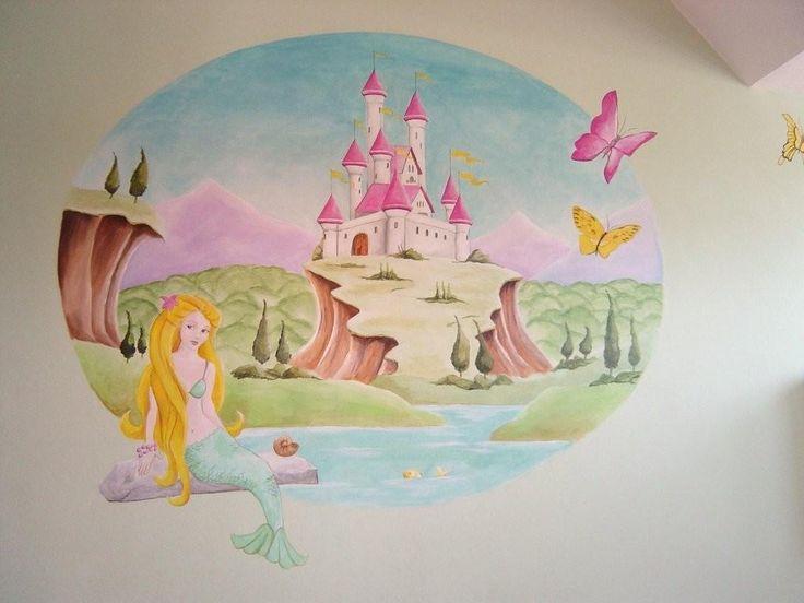 Zeemeermin met kasteel | muurschildering | kinderkamer | www.groeneballon.nl | Den Haag