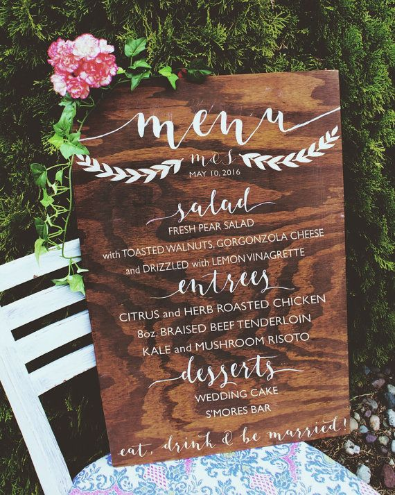 WOODEN WEDDING MENU BOARD // Custom Wooden Dinner Menu, Wood Wedding Menu, Rustic Dinner Menu, Handpainted Wedding Sign