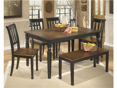 Signature Design By Ashley Owingsville Rectangular Dining Room Table With  Four Chairs, Bench, Glued And Screwed Corner Block Construction In Two Tone