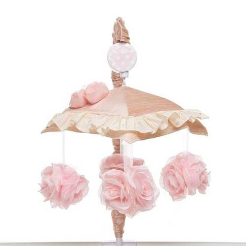 Pink Floral Rose Flowers Musical Baby Girls Nursery Crib Mobile - No Arm Cover