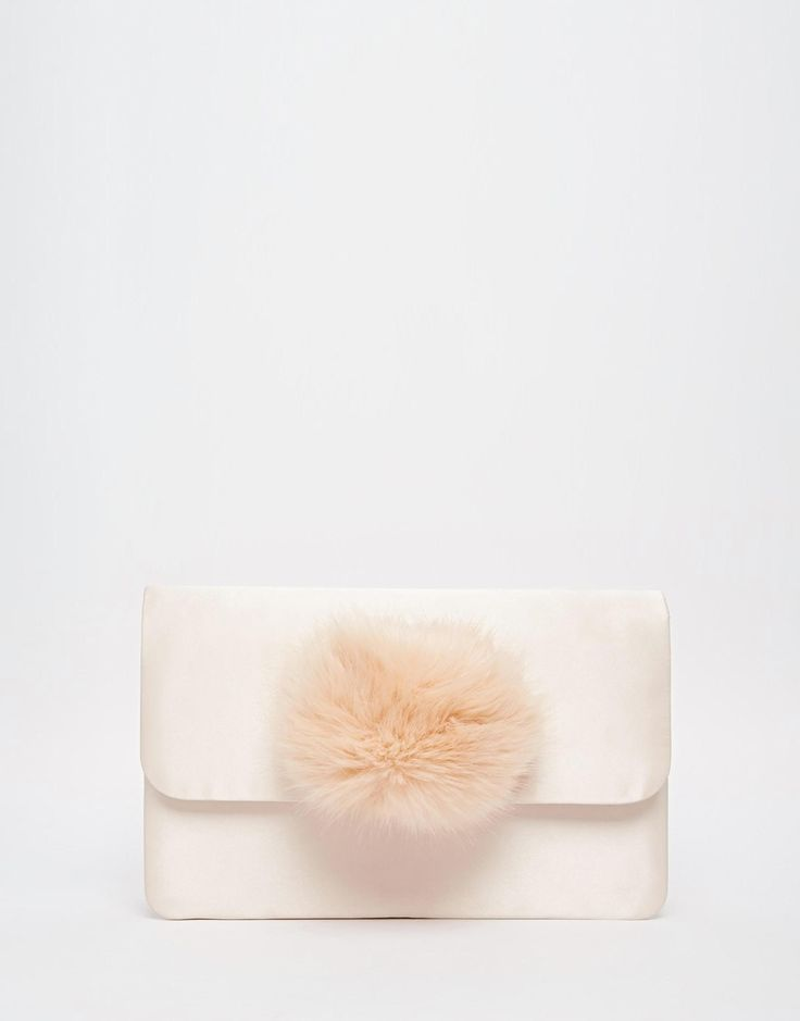 Image 1 of ASOS LILLE Co-ord Satin Clutch Bag With Faux Fur Pom