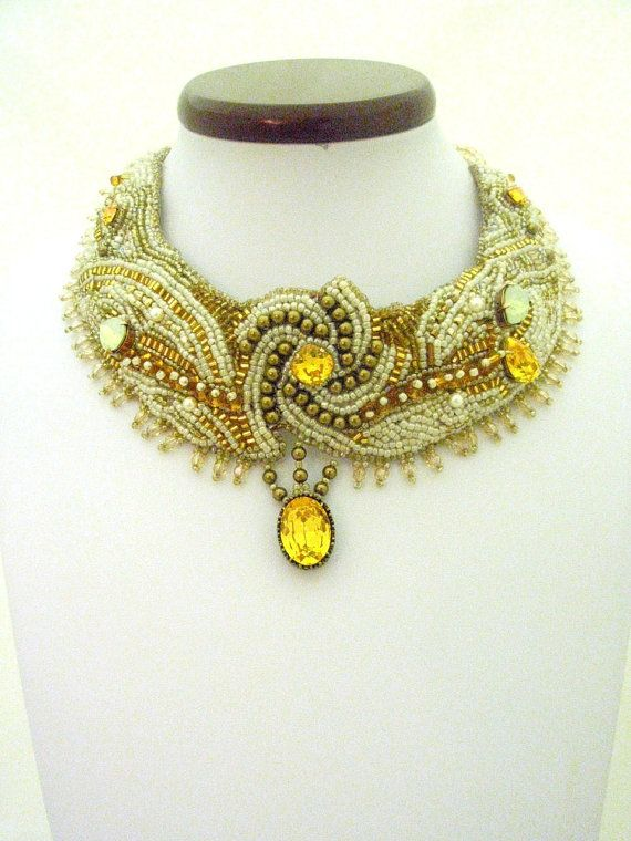 Wedding jewelry  Bead Embroidered Bib Collar  by beadsofaquarius, $373.00