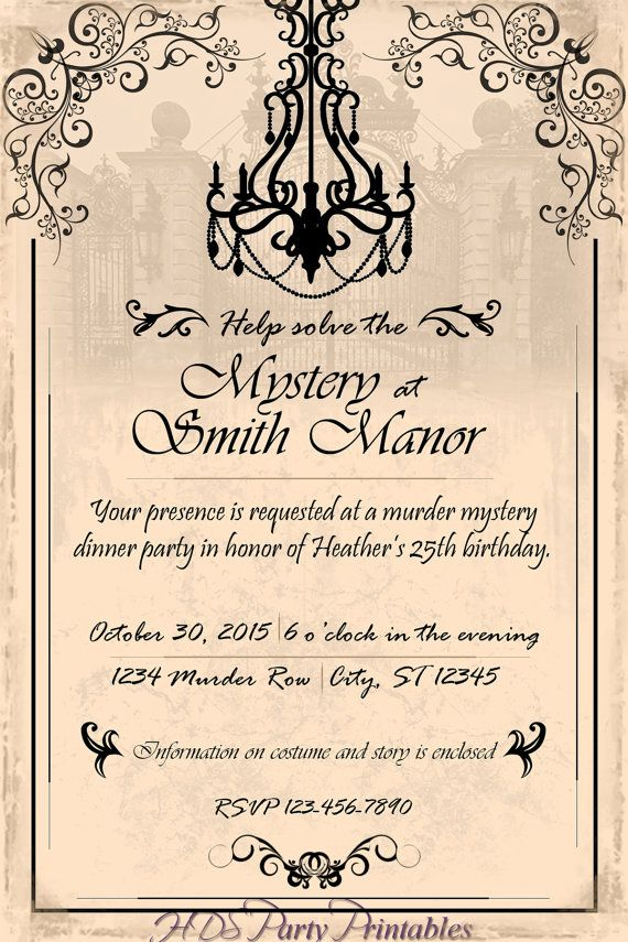 Best 25 dinner party invitations ideas on pinterest dinner murder mystery chandelier dinner party by hdspartyprintables stopboris Image collections