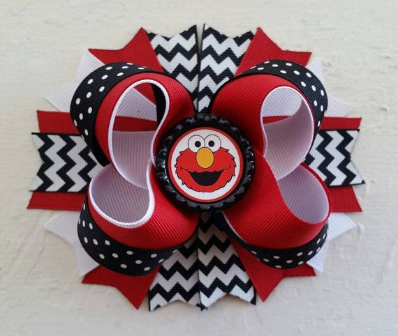 Hey, I found this really awesome Etsy listing at https://www.etsy.com/listing/218271905/elmo-inspired-boutique-layered-hair-bow