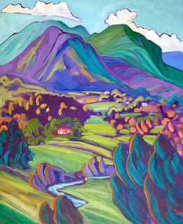 """Daily Painters Abstract Gallery: Contemporary Santa Fe New Mexico Landscape Painting """"VALDEZ VALLEY-BLUE & GREEN"""" by Santa Fe Artist Annie O'Brien Gonzales"""