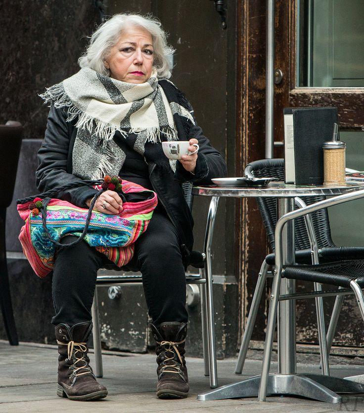 Woman at Bar Italia, Soho. By Richard Farland.