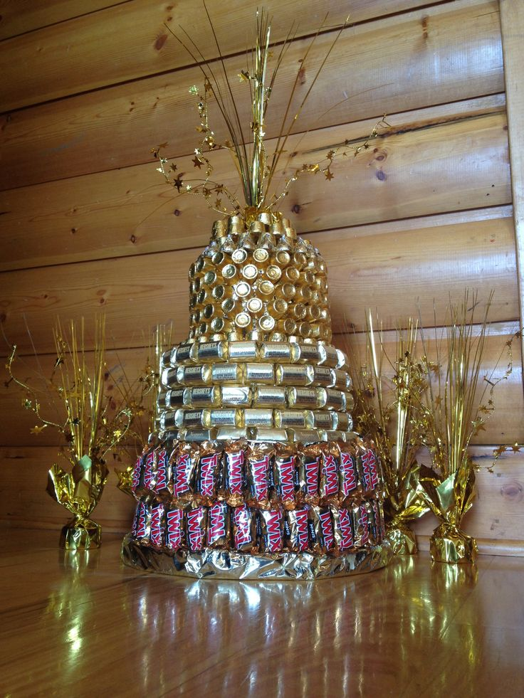 GOLDEN BIRTHDAY CAKE made from styrofoam and hot glued pieces of gold candy :)