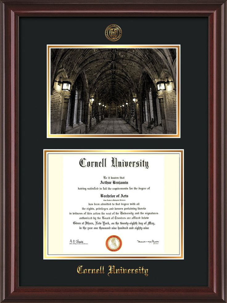 Cornell U Diploma Frame-Mahog Lacquer-War Memorial Photo-Black on Gold – Professional Framing Company
