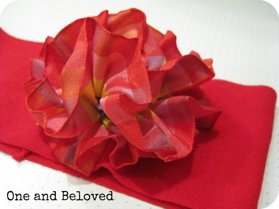Unique Handmade Red Elastic Headband with big by OneandBeloved, €6.00