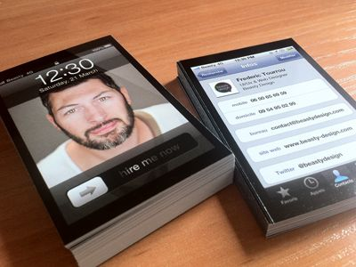 business cards inspired by iphones