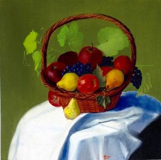 Art by Viorica Buga: Still life with fruit, oil on canvas,60x60 cm