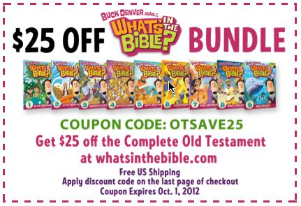 Awesome coupon for What's in the Bible? Old Testament Bundle. Good through Oct. 1, 2012! Buy now for Christmas!