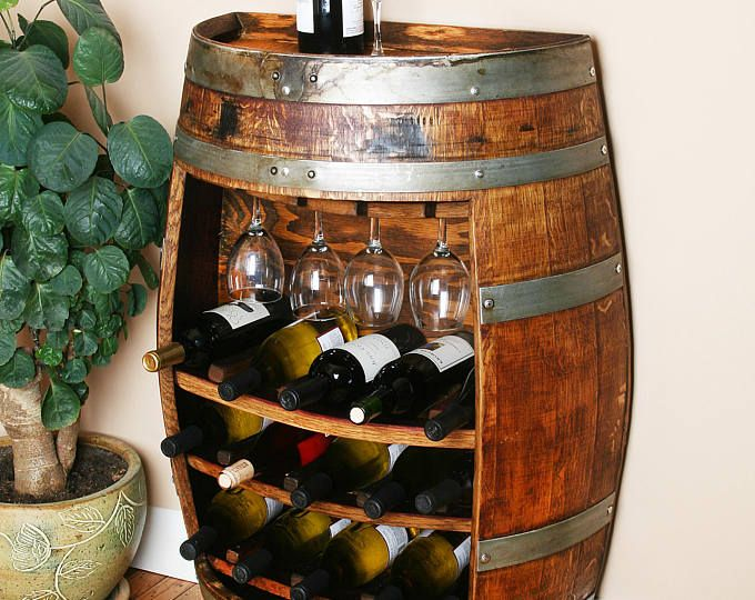 25 Bottle Oak Wine Barrel Wall Cabinet Holds 25 Bottles Of Wine By Wine Barrel Creations Wine Rack Cabinet Recycled Wine Barrels Wine Barrel Furniture