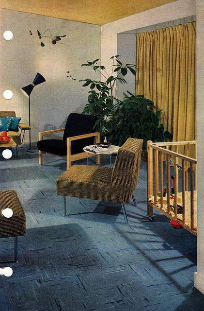 A big YES to the painted ceiling. Green room, Mid Century Modern. 1956 edition, Better Homes & Gardens Decorating Book.
