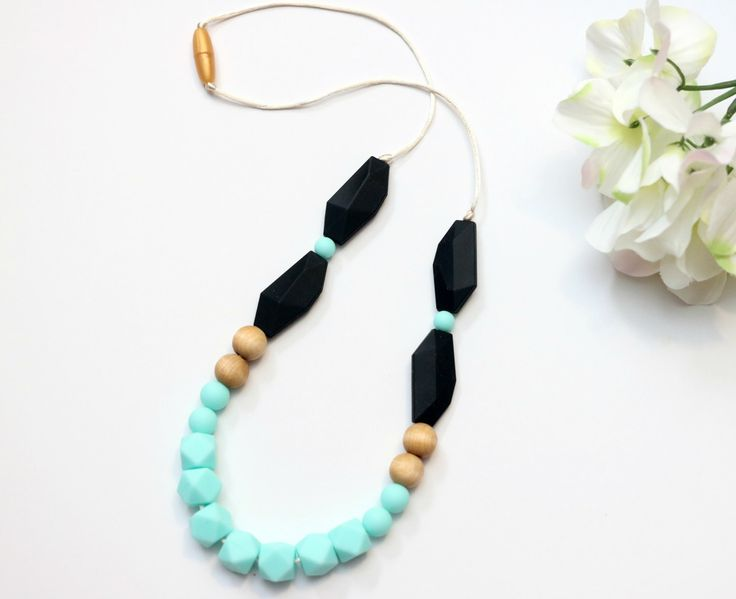 Silicone Necklace Caribbean Geometric Hexi and Black -Silicone Teething Necklace, Silicone Nursing Necklace, Breastfeeding Necklace for Mom by GettingSewCrafty on Etsy