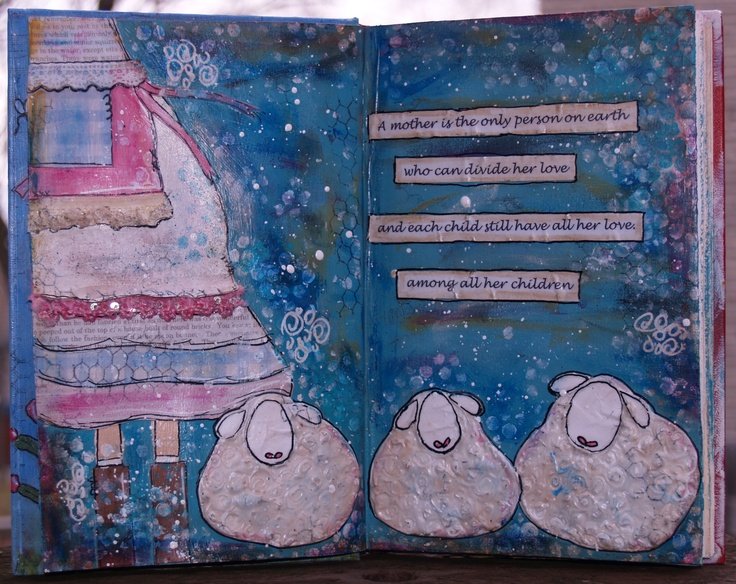 Sheep art journal page inspired by Junelle Jacobson's and Christy Tomlinson's The Art of Wild Abandonment course!