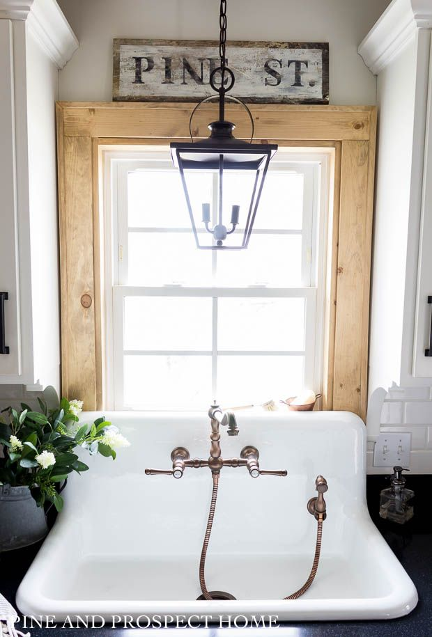 A New High Back Sink And Faucet In Our Cottage Kitchen Cottage Kitchen Cottage Style Kitchen Farm Sink Faucet