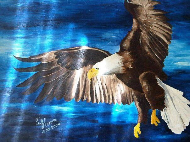 Soaring with eagles. Painted for my hubby.