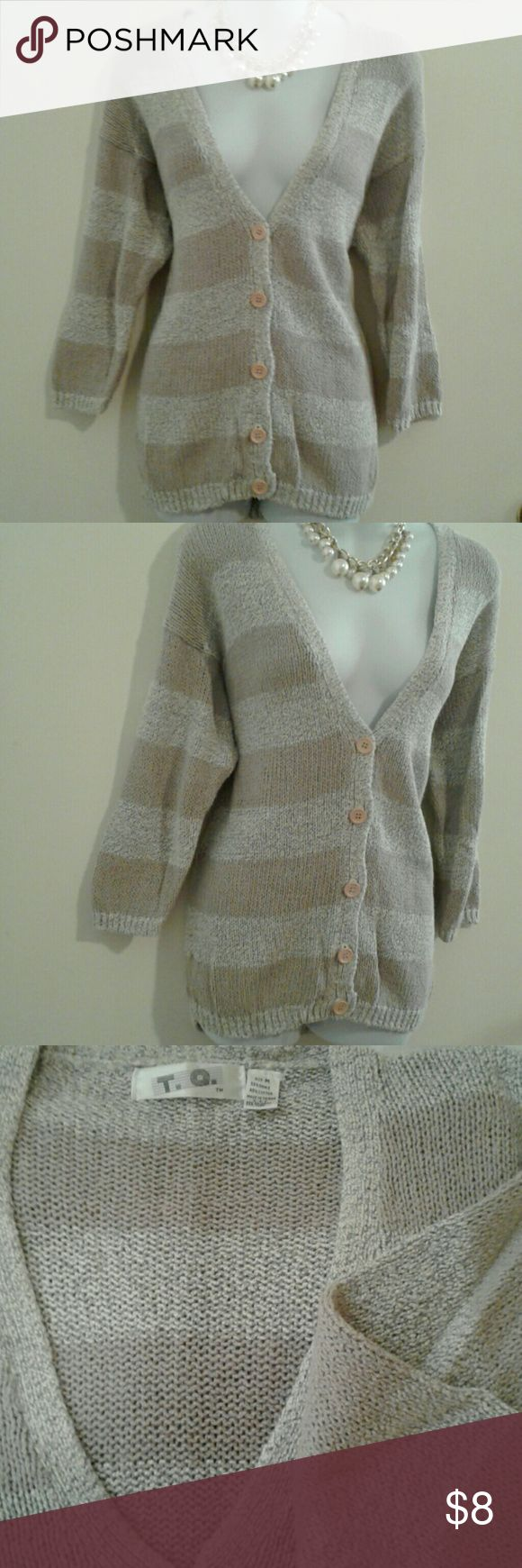 """Vintage Striped Button Up Cardigan Sweater Excellent condition  55% ramie-45% cotton Measures: 21"""" (arm pit to arm pit) Length: 29"""" (shoulder to bottom hem) T.Q. Sweaters Cardigans"""
