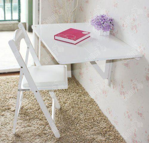 Küchentisch, Holztisch, Wandklapptisch, Esstisch, Schreibtisch, Tisch, 2x klappbar, 80x60cm FWT02-W (Weiß):Amazon.de:Küche & Haushalt